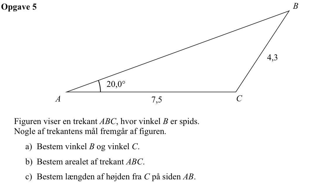 trekant med 3 spidse vinkler